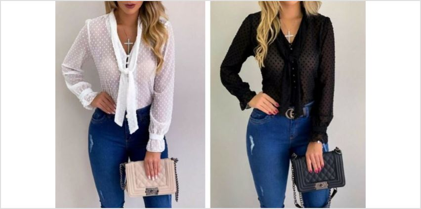 £9.99 instead of £29.99 for a waffle-front tie frill blouse - choose from four colours from Backtoogoo - save 67% from Wowcher