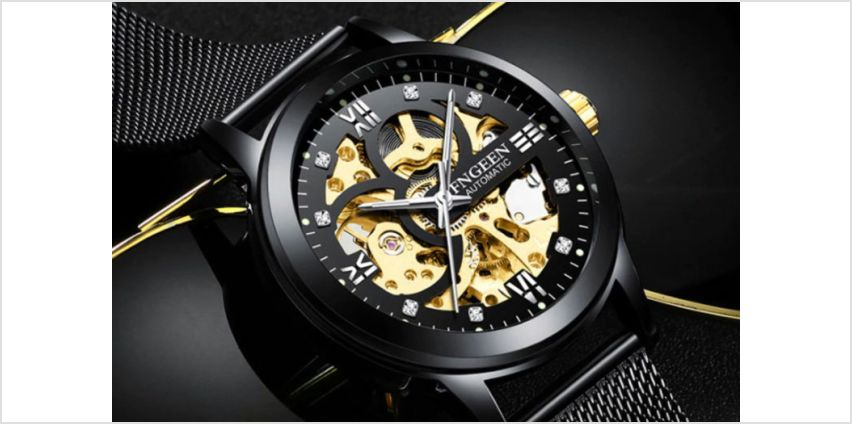 £29 instead of £169.99 (from Taylors) for a men's all black automatic mesh skeleton watch - save 83% from Wowcher