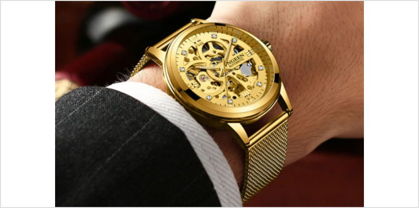 £29 instead of £169.99 (from Taylors Jewellery) for a men's luxury automatic gold mesh watch - save 83% from Wowcher