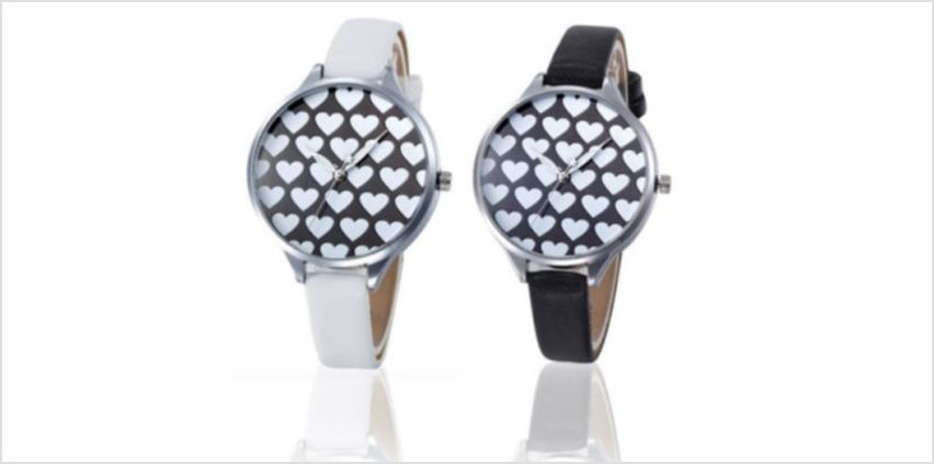 £5.99 instead of £25 for a heart patterned watch - choose from two colours from Solo Act Ltd - save 76% from Wowcher