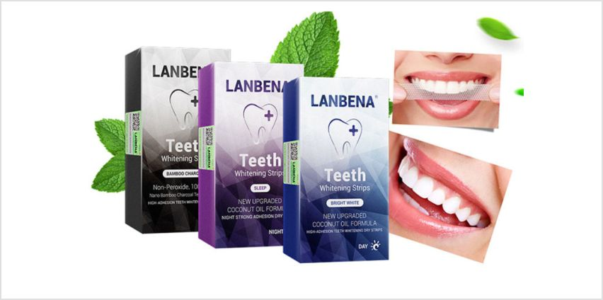 £5.99 instead of £29.99 (from Litn Fleek) for a seven pairs of LANBENA teeth whitening strips – choose from Bright White day strips, Sleep night strips or Bamboo Charcoal non-peroxide strips and save 73% from Wowcher