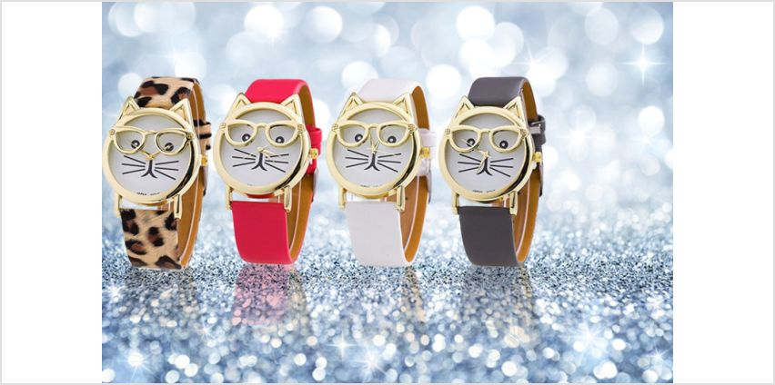 £3.99 instead of £25 for a ladies cat geek watch - choose from four designs! from Solo Act Ltd - save 84% from Wowcher