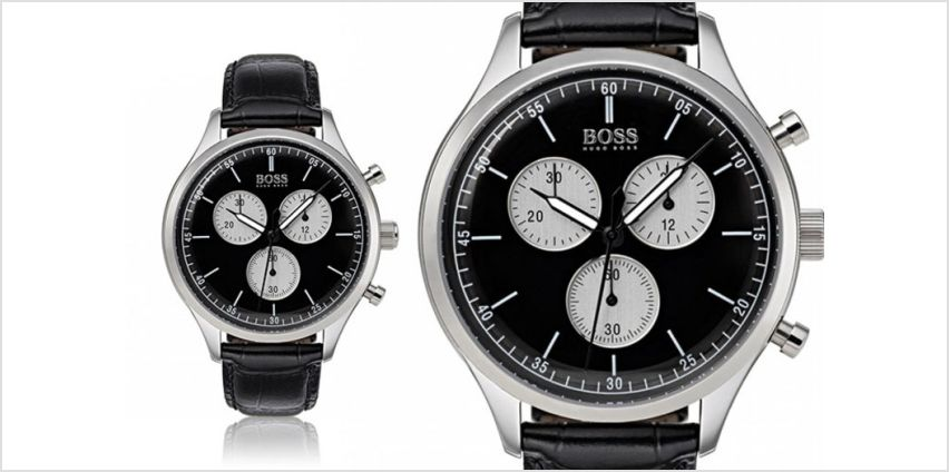 £129 instead of £300.01 (from Brand Arena) for a men's black and silver leather HB1513543 watch - save 57% from Wowcher