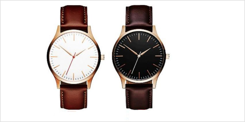 £8.99 instead of £29 for a men's leather strap watch - choose from two colours from Solo Act Ltd - save up to 69% from Wowcher