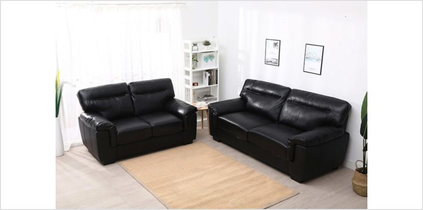 £649 instead of £1399.99 (from Meriden Furniture) for a sofa set with two and three-seater sofas - choose between black and mocha and and save 54% from Wowcher