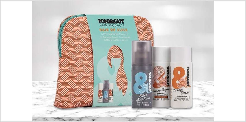 £11.99 instead of £24.99 (from Avant Garde) for one Toni&Guy Hair On Sleek wash bag gift set, or £21.99 for two gift sets - save up to 52% from Wowcher