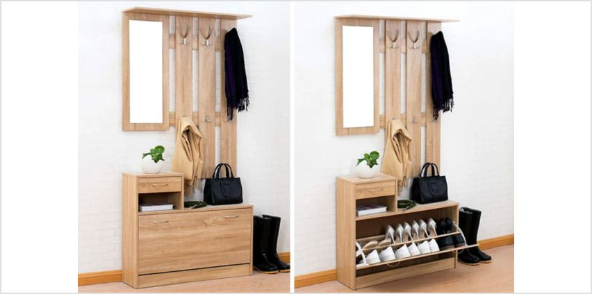 £64 instead of £139.99 (from Meriden Furniture) for an oak-colour hall storage unit with floating coat rack and mirror – save 54% from Wowcher