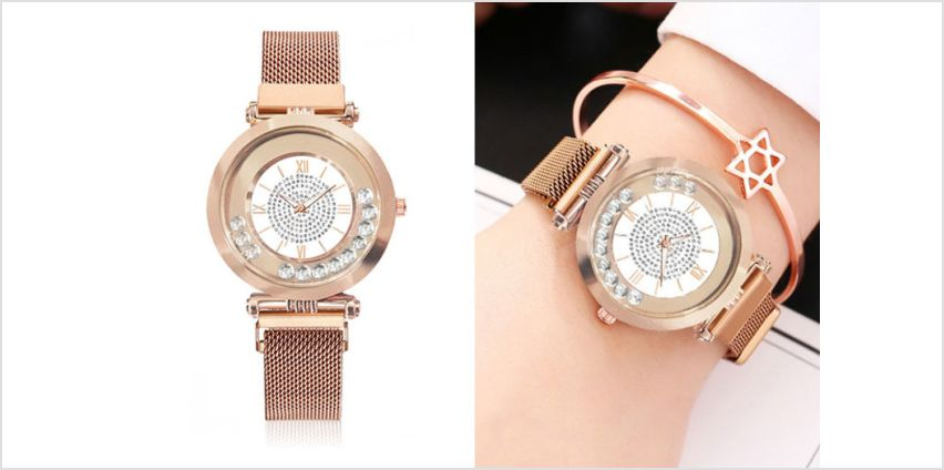 £14.99 instead of £119.99 (from Taylors Jewellery) for a ladies luxury quartz watch with rotating crystals and crystal dial – choose from four colours and save 88%  from Wowcher