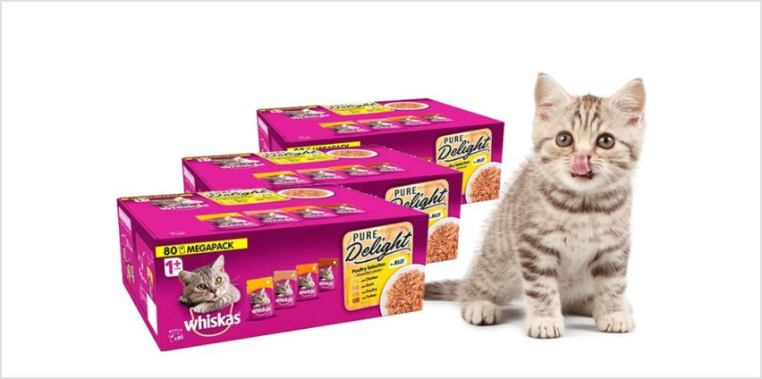 £22.50 instead of £27.99 (from Trojan) for a box of 80 x 85g Whiskas 1+ Cat Pure Delight pouches, £44.99 for a box of 160 pouches, or £61.99 for a box of 240 pouches - save up to 20% from Wowcher
