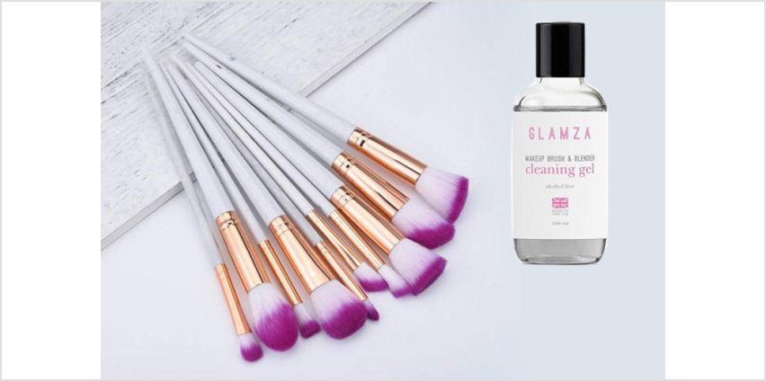 £9.99 instead of £27.98 for a 10 pieces Glamza Marble Makeup Brush Set & Cleaning Gel from Forever Cosmetics - save 64% from Wowcher
