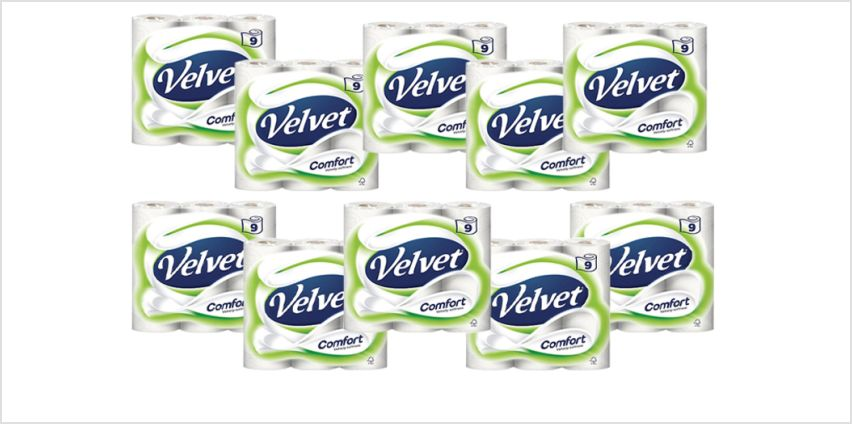 £24.99 for 45 rolls or (£39.99) for 90 Velvet Comfort Toilet Rolls from Global Merchant Support  - save up to 46% from Wowcher