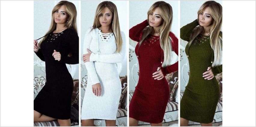 £9.99 instead of £29.99 (from Backtogoo) for a cross lace knitted midi jumper dress in black, white, green or wine red - choose from UK dress sizes 10-14 and save 67% from Wowcher