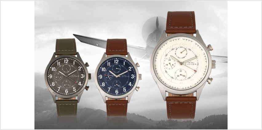 £49 instead of £280.01 (from ELEVON) for a men's luxury pilot watch, choose from six designs and save 83% from Wowcher