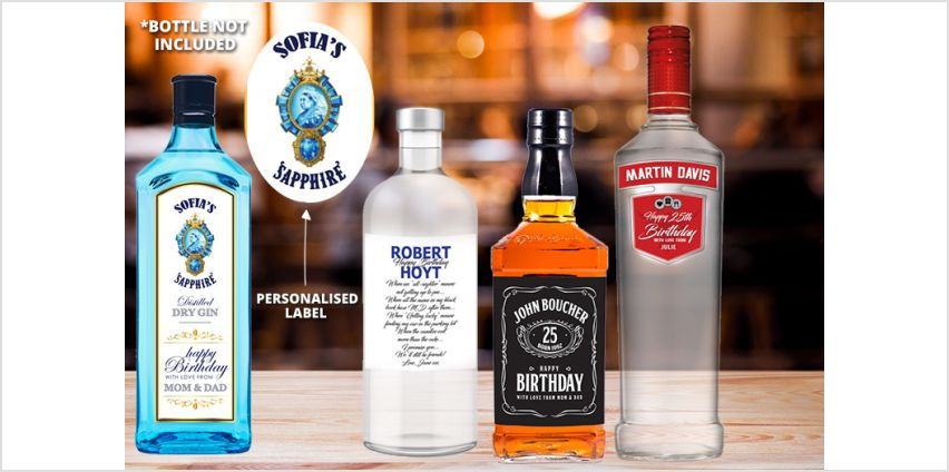 £2 for a set of four personalised alcohol bottle labels! from Wowcher