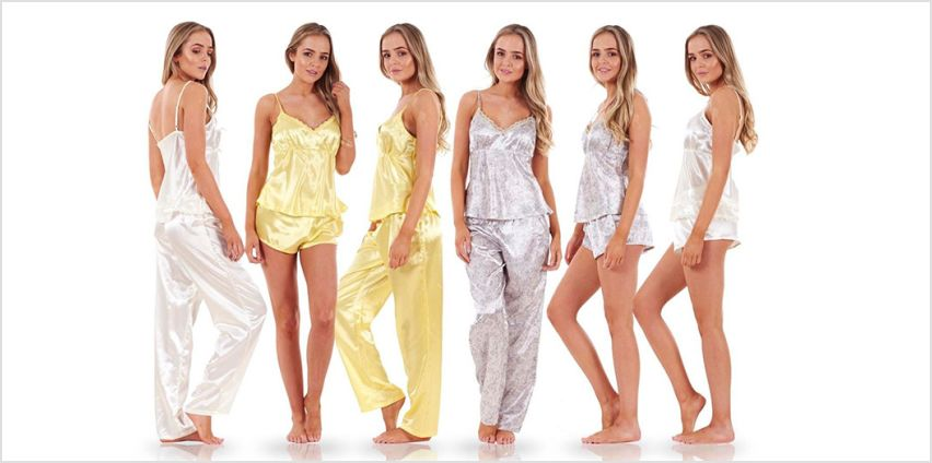 £7 instead of £27 (from Eurotrade) for a ladies' three-piece satin pyjama set - save 74% from Wowcher