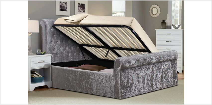 £249 (from FTA Furnishing) for a double crushed velvet sleigh bed with side-lift ottoman storage, £279 for a king size or from £349 to include a mattress - choose from mattress options and save up to 58% from Wowcher