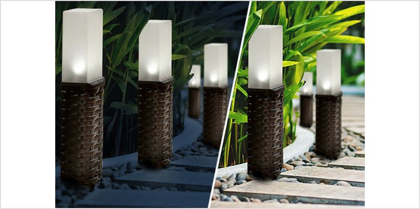 £9.99 instead £39.99 (from Groundlevel) for a set of two durable polyrattan solar post lights or £16.99 for a set of four - save up to 75% from Wowcher
