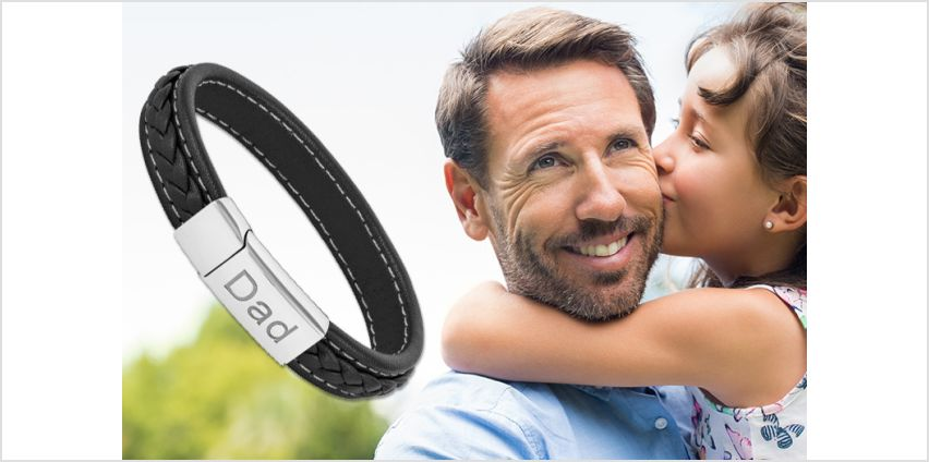 £9.99 instead of £69.99 (from Gemnations) for a black leather bracelet with Dad engraving - save 86% from Wowcher