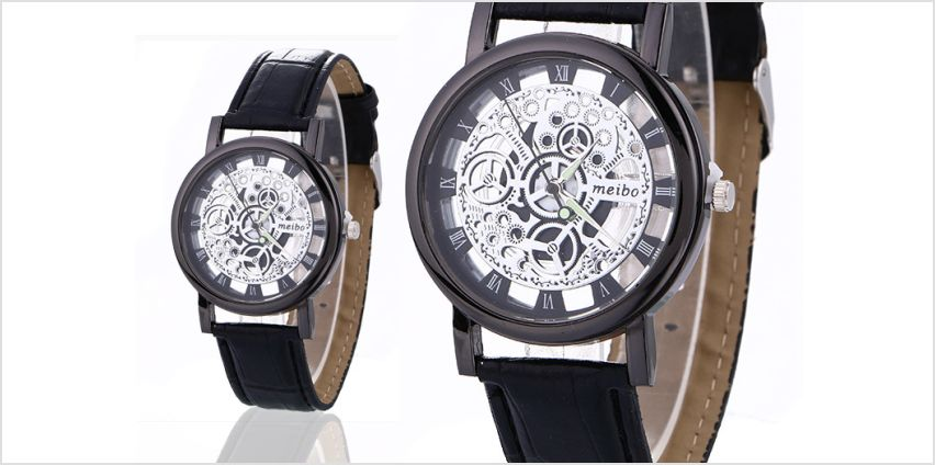 £9.99 instead of £44 (from Styled By) for a men's vegan leather skeleton watch - choose between two designs and save 77% from Wowcher