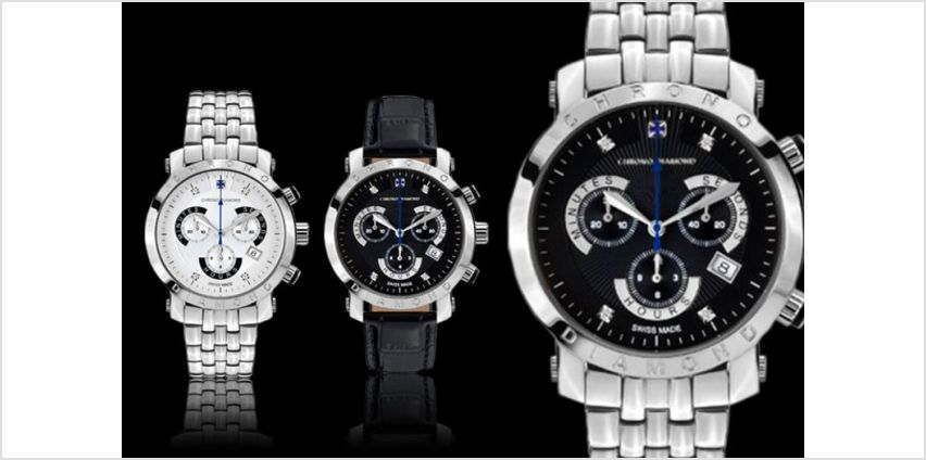 From £169 (from Rotatio) for a Swiss-made Chrono Diamond 'Nestor' watch - save up to 89% + DELIVERY IS INCLUDED! from Wowcher