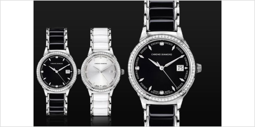 From £179 instead of £1,289.63 (from Rotatio) for a ladies' Chrono Diamond, Swiss-made 'Thyrsa' watch - choose from six designs and save up to 86% + DELIVERY IS INCLUDED from Wowcher