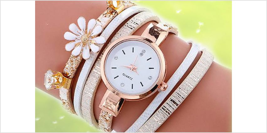 £6.99 instead of £19 for a daisy crystal wrap watch - choose from three colours from Solo Act Ltd - save 63% from Wowcher