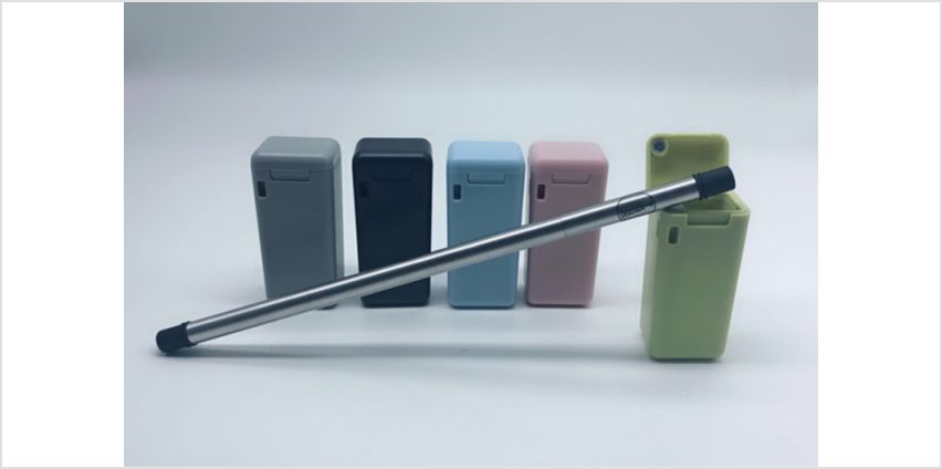£5.99 for a resuable stainless steel straw and key ring carry case available in five colours from Wowcher