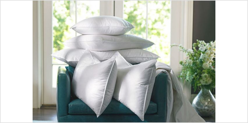 Get your head down on four Luxury Duck Feather Hotel Quality Pillows from Wowcher