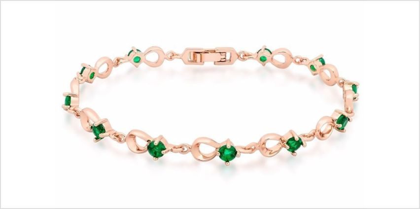 £10.99 instead of £79.99 for a rose-gold plated bracelet with green crystals from GameChanger Associates - save 86% from Wowcher