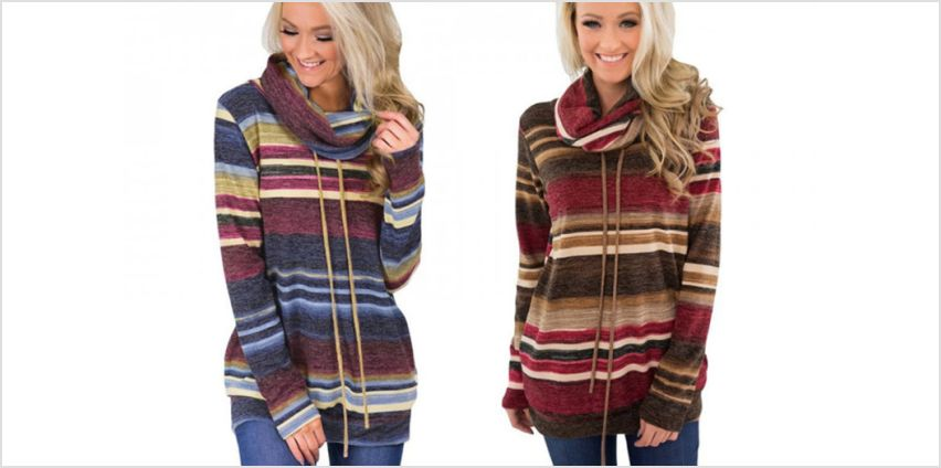 £7.99 instead of £29.99 (from Blu Fish) for a striped cowl roll neck jumper - choose from two colours and save 73% from Wowcher