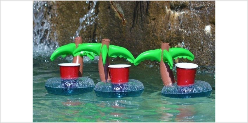£4.99 instead of £19.99 for a set of three inflatable palm tree drink holders from London Exchain Store - save 75% from Wowcher