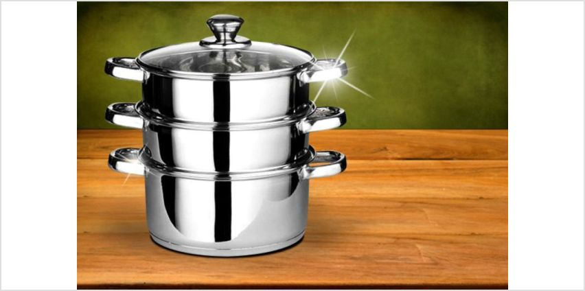 £11 instead of £39.99 for a three-piece stainless steel steamer set from Direct2Public Ltd - save 72% from Wowcher