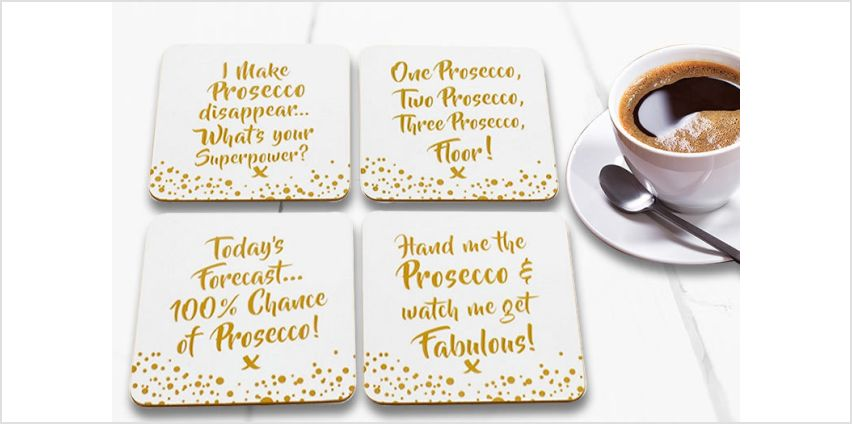 £3.99 instead of £19.99 for a set of four prosecco coasters from Direct2Public Ltd - save up to 80% from Wowcher