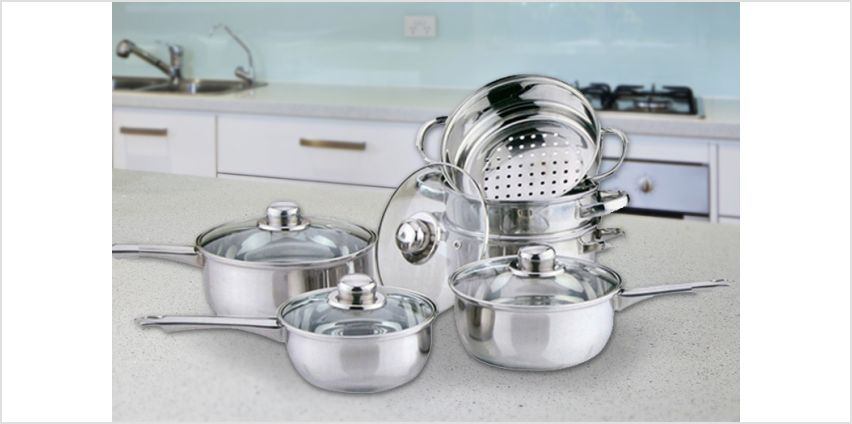 £19.99 instead of £49.99 for a 10-piece pan and steamer set from Direct2Public Ltd - save 60% from Wowcher