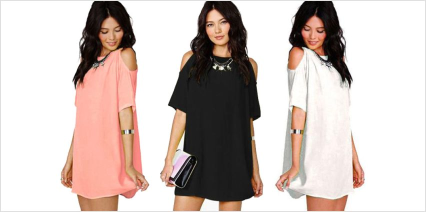 £9 instead of £24.99 for a boho off-shoulder mini dress - choose from three colours from Verso Fashion Ltd - save 64% from Wowcher