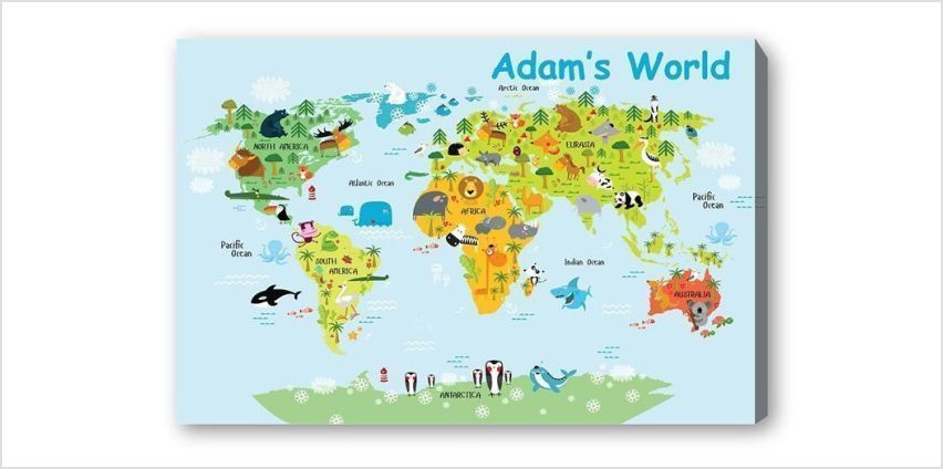 £6.99 instead of £69.99 for a personalised kids world map canvas from Fab Deco Ltd - Deco Matters - save 90% from Wowcher