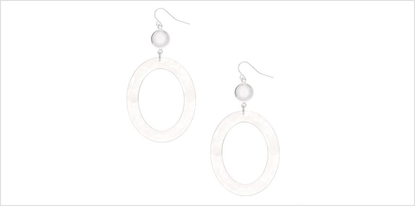 "Go to Product: Silver 2.5"" Oval Resin Drop Earrings - White from Claires"