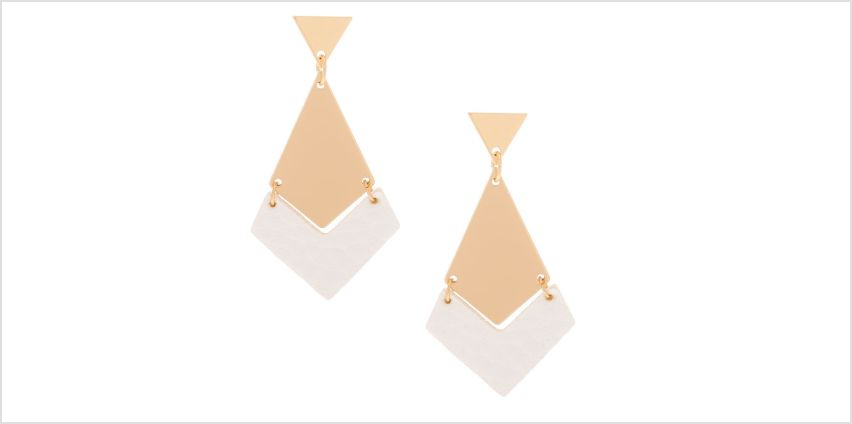 """Go to Product: Gold 1.5"""" Geometric Drop Earrings - White from Claires"""