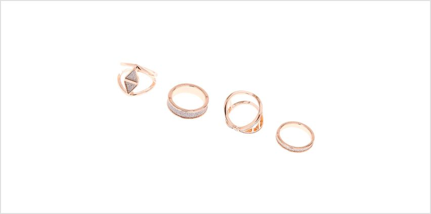 Go to Product: Rose Gold Glitter Geometric Rings - Silver, 4 Pack from Claires