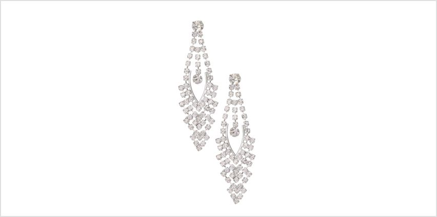 "Go to Product: Silver 2"" Rhinestone Chandelier Drop Earrings from Claires"