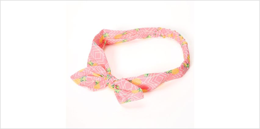 Go to Product: Neon Pineapple Knotted Bow Headwrap - Pink from Claires