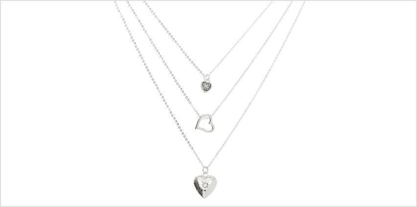 Go to Product: Silver Heart Multi Strand Necklace from Claires