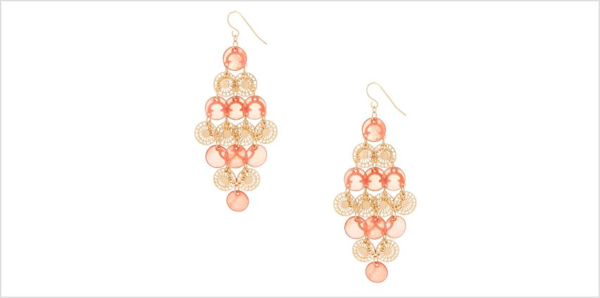"""Go to Product: Gold 2.5"""" Filigree Disk Chandelier Drop Earrings - Coral from Claires"""