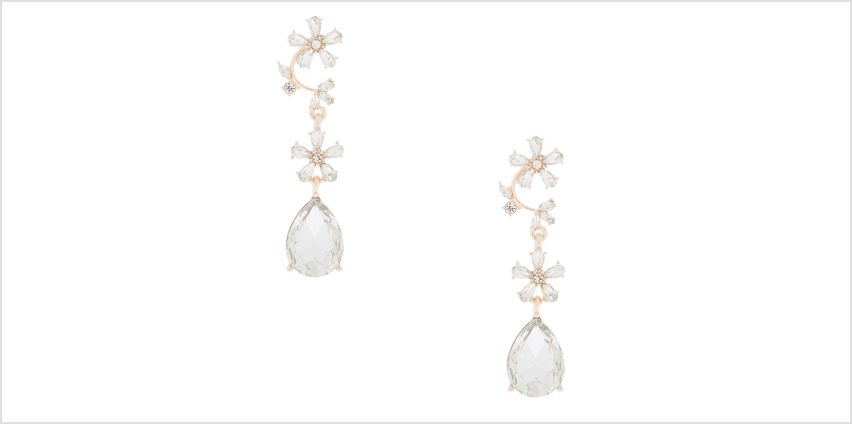 "Go to Product: Rose Gold 2"" Rhinestone Vine Drop Earrings from Claires"