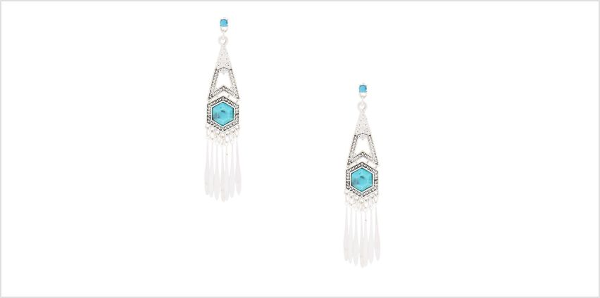 "Go to Product: Silver 3"" Boho Drop Earrings from Claires"