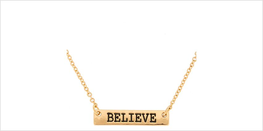 Go to Product: Gold Believe Bar Pendant Necklace from Claires