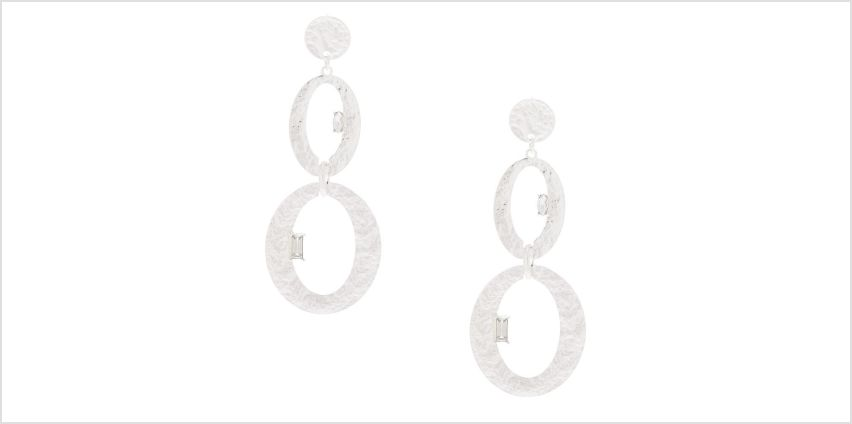"""Go to Product: Hammered Silver 3"""" Oval Drop Earrings from Claires"""