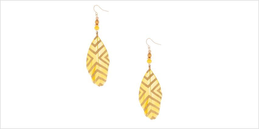 """Go to Product: 4"""" Feather Drop Earrings - Yellow from Claires"""