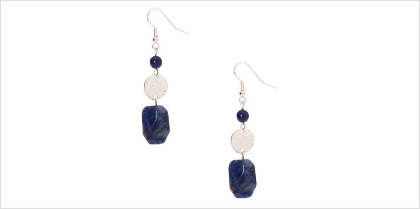 """Go to Product: 2"""" Hammered Stone Drop Earrings - Blue from Claires"""