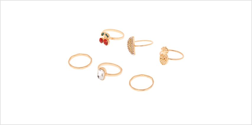 Go to Product: Gold Fruity Rings - 6 Pack from Claires